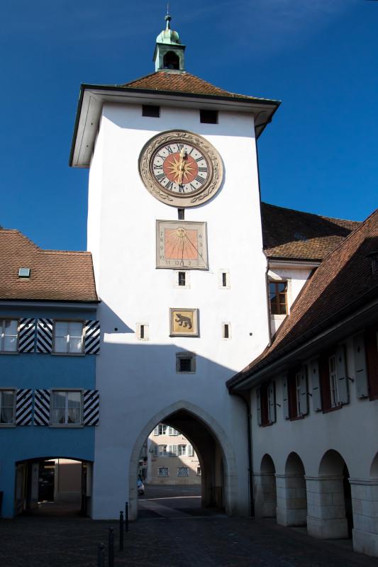 Das Obertor von Laufen, eines der drei gut erhaltenen Stadttore der mittelalterlichen Befestigung