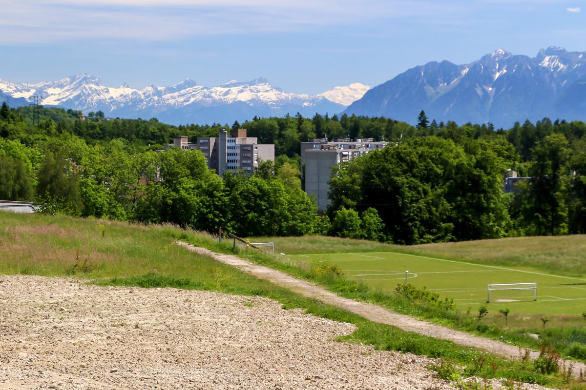 Ankunft in Épalinges, just vor der Stadtgrenze Lausannes