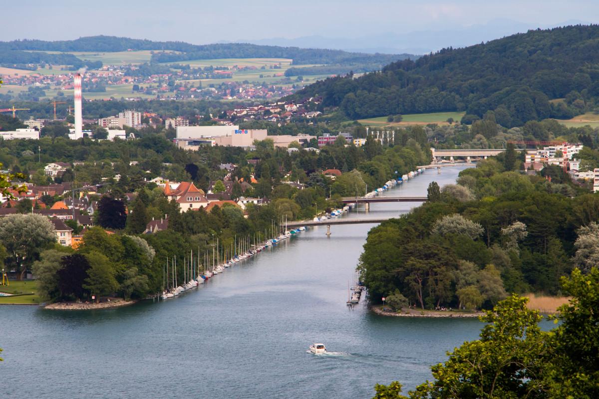 Der Eingang des Nidau-Büren-Kanals, eines 12 Kilometer langen Wasserlaufes zwischen Bielersee und Aare