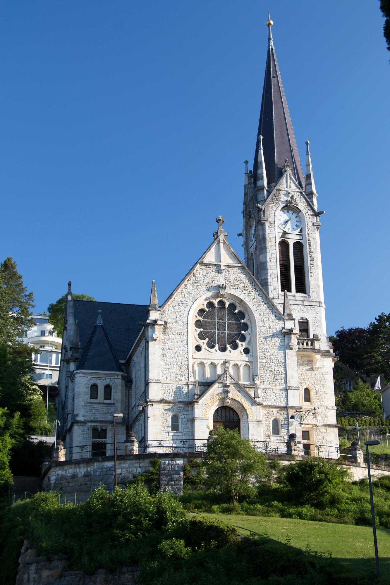 Die reformierte Pasquart-Kirche nahe der Bieler Altstadt