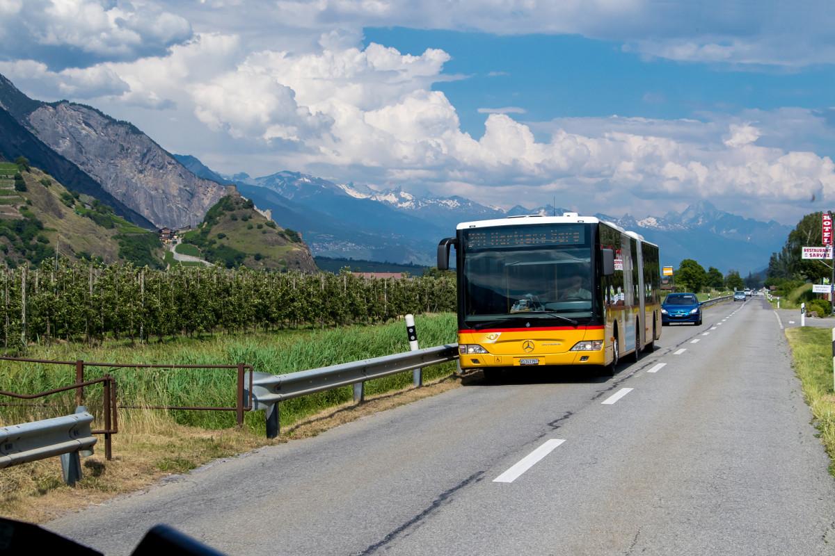 Unterwegs zwischen Martigny und Leytron, treffen wir auf den Gegenkurs