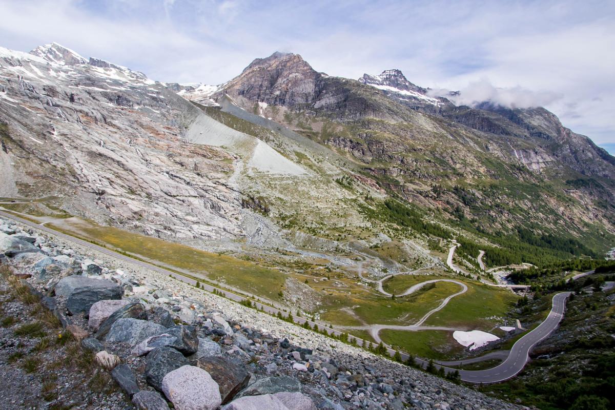 Blick auf den Allalingletscher; hier donnerte die Eis- und Gerölllawine ins Tal