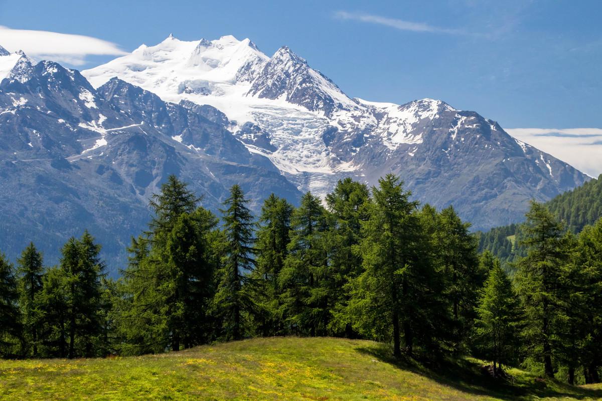 Prächtige Aussicht hinüber auf Weissmies und Triftgletscher