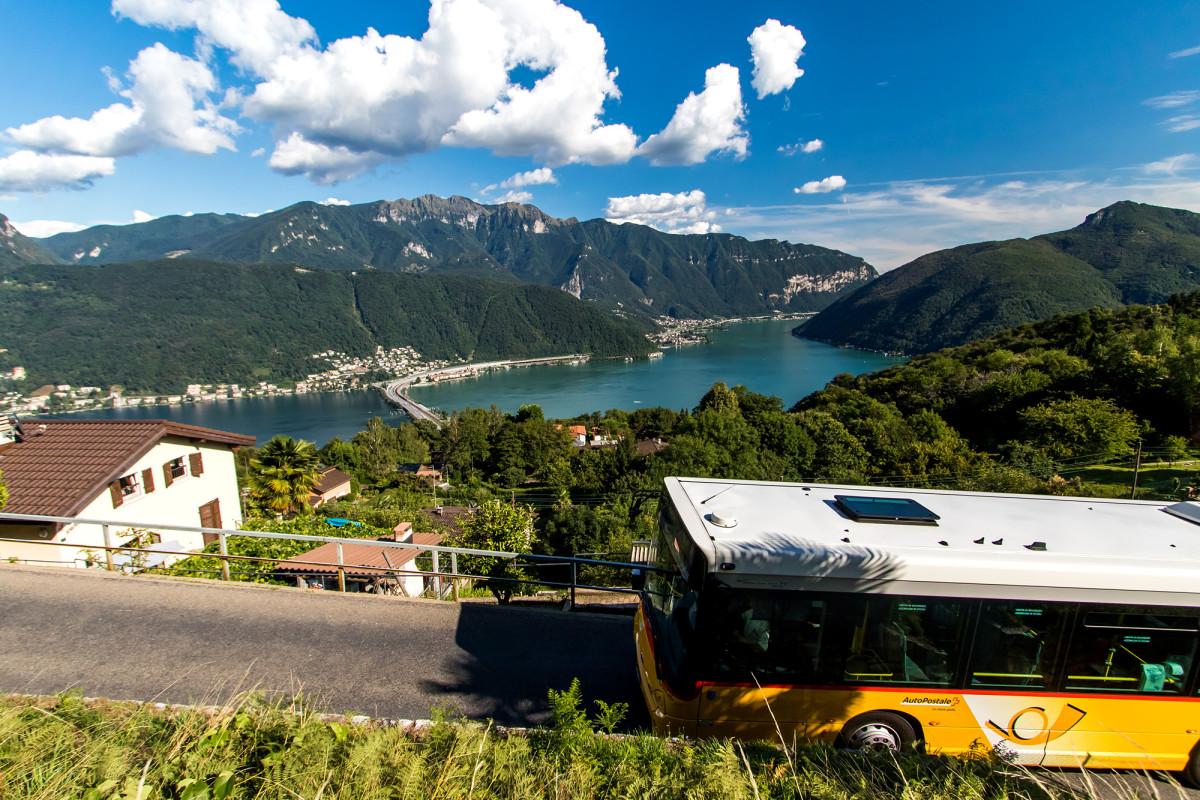 Auf der Fahrt von Carona zurück nach Lugano warten prächtige Aussichten