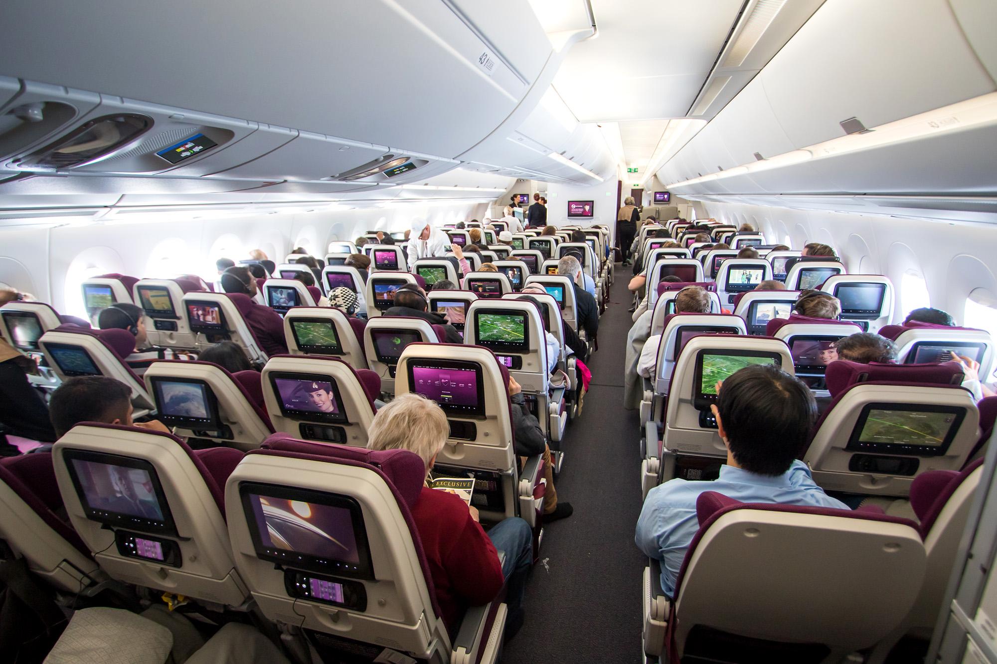 Fotospecial eerste lijnvlucht qatar airways a350 xwb for Interieur qatar airways